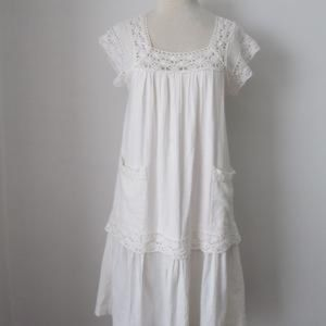 White BOHO cotton cover up